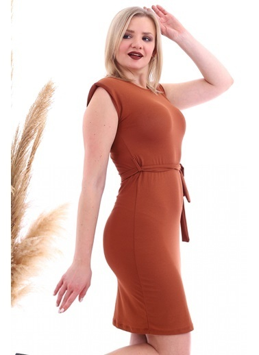 Cottonmood 20070783 Örme Krep Beli Kuşaklı Omuzu Vatkalı Elbise Vizon Yilan Kahve